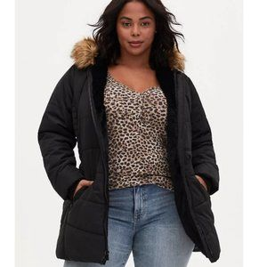NWT Torrid Black Fit and Flare Puffer Coat